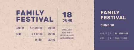 Plantilla de diseño de Family Festival Announcement Ticket