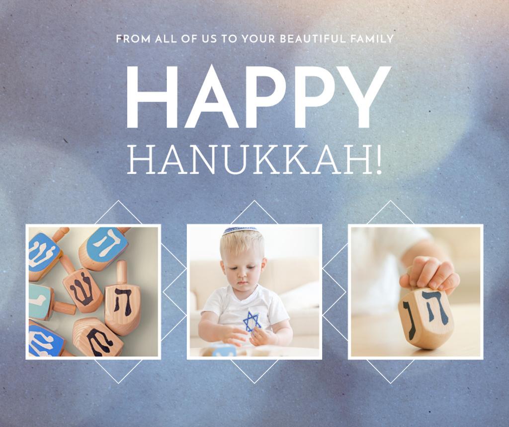 Kid celebrating Hanukkah holiday Facebook Tasarım Şablonu