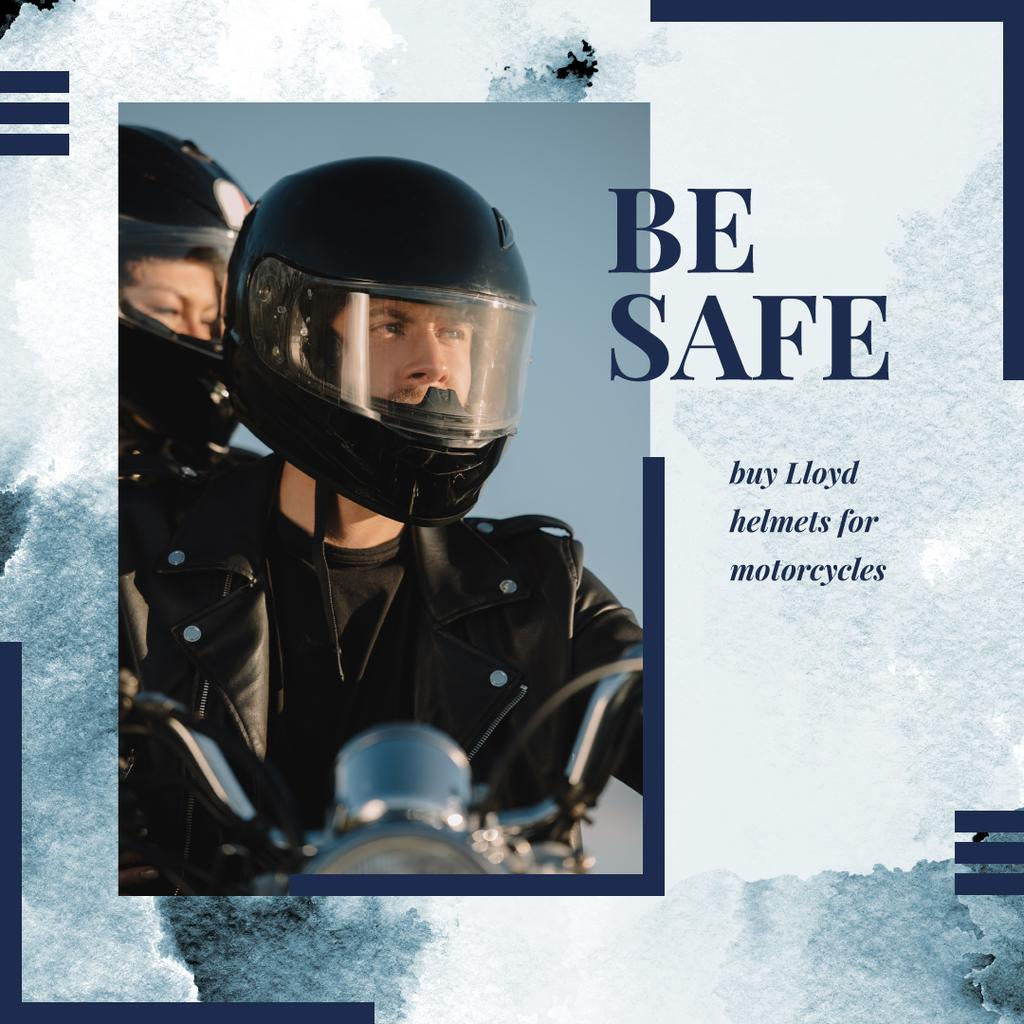 Safety Helmets Promotion with Couple riding motorcycle — Crea un design