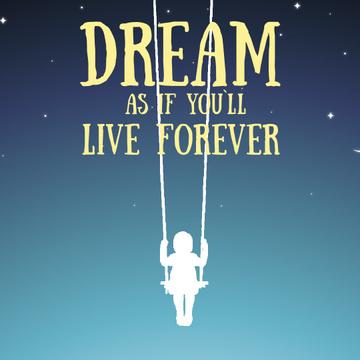 Dream Inspiration Girl Swinging on Sky
