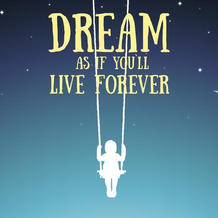 Designvorlage Dream Inspiration Girl Swinging on Sky  für Animated Post