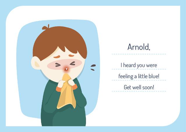 Plantilla de diseño de Boy suffering from flu Postcard
