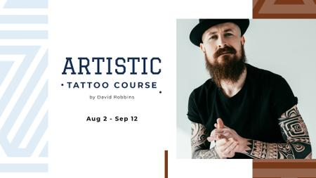 Plantilla de diseño de Tattoo Studio ad Young tattooed Man FB event cover