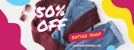 Plantilla de diseño de Casual female clothes Sale Facebook cover