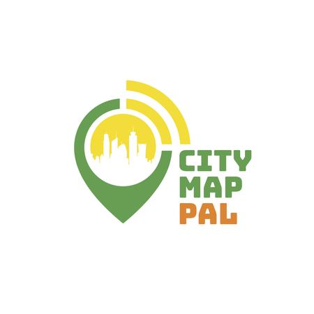 Real Estate Agency with City in Map Pin Logoデザインテンプレート