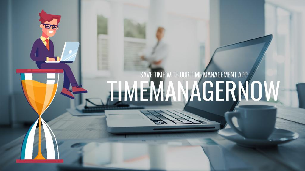 Time Management Concept Businessman on Hourglass — Create a Design