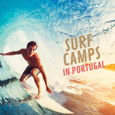Template di design Man surfing in barrel wave Animated Post