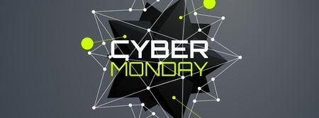 Template di design Cyber Monday Sale spiky digital sphere Facebook Video cover
