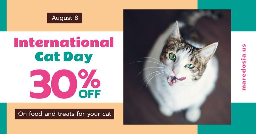 Cat Day Sale Cute Spotted Cat — Modelo de projeto