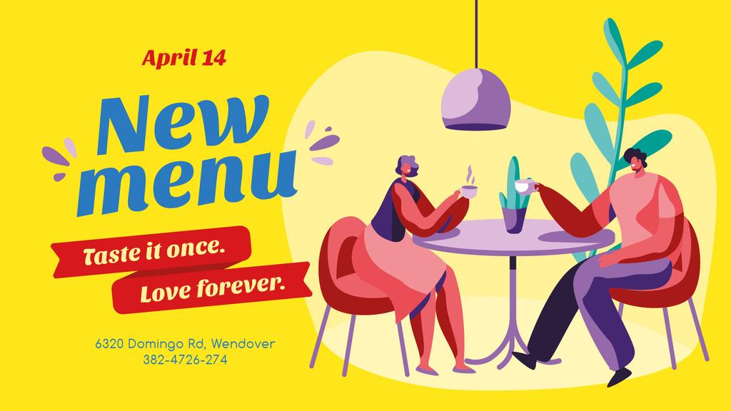Romantic couple in cafe — Create a Design
