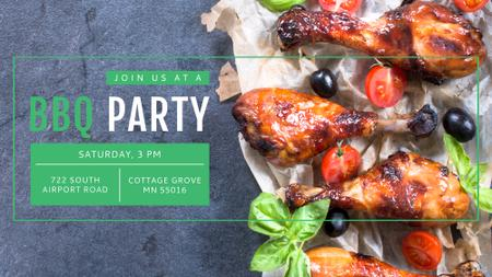 BBQ Party Invitation Grilled Chicken FB event cover Modelo de Design