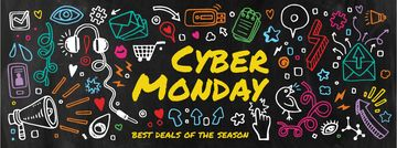 Cyber monday sale with funny illustrations