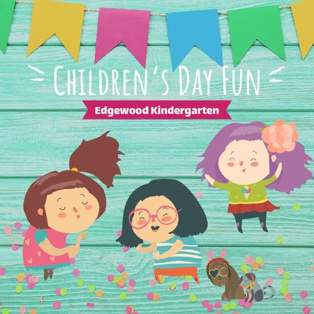 Template di design Kids dancing and having fun on Children's Day Animated Post