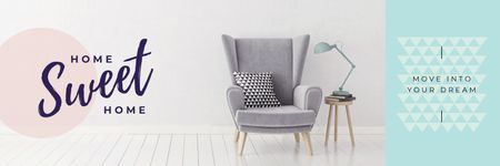 Plantilla de diseño de Cozy Interior Armchair Grey Color Twitter