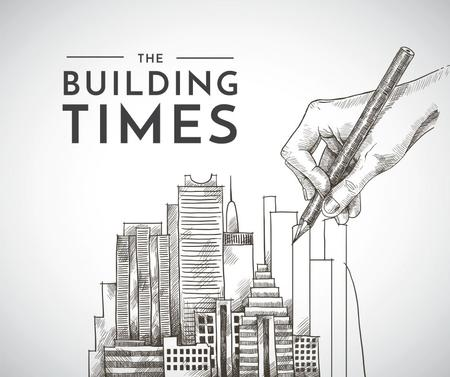 Real Estate news with hand drawing Buildings Facebookデザインテンプレート