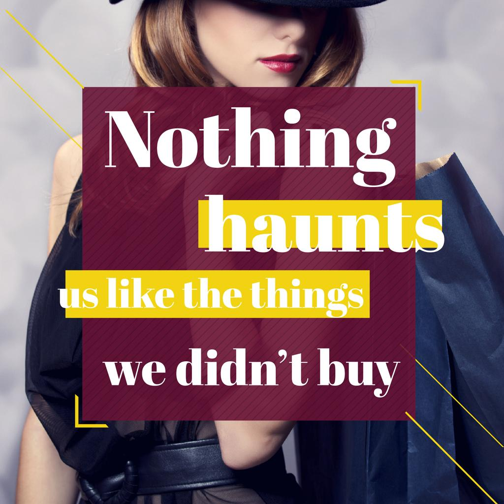 Shopping quote Stylish Woman in Hat Instagram AD Modelo de Design