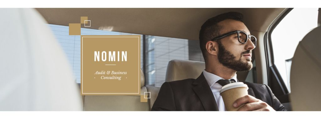 Businessman with Coffee riding in car —デザインを作成する