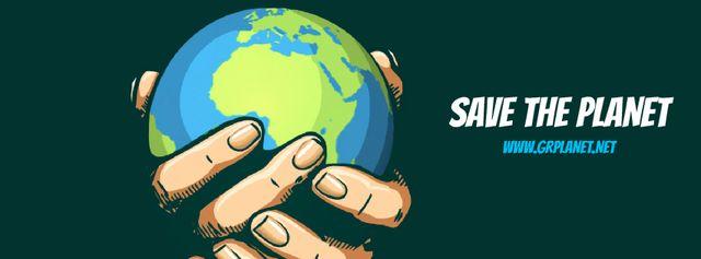 Earth globe in hands Facebook Video cover – шаблон для дизайну