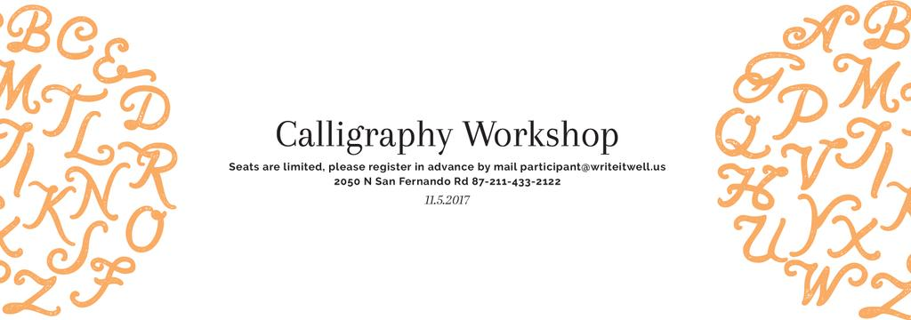 Calligraphy Workshop Announcement Letters on White — Create a Design