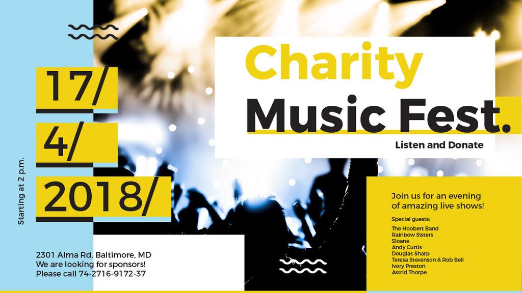 Charity Music Fest Invitation Crowd at Concert — ein Design erstellen