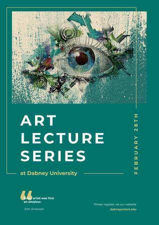 Plantilla de diseño de Art Lectures Invitation with Creative Eye Painting Poster