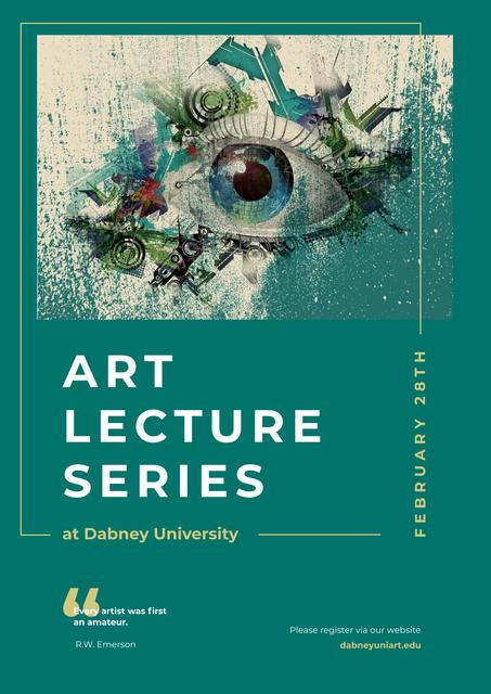 Art Lectures Invitation with Creative Eye Painting Poster Modelo de Design