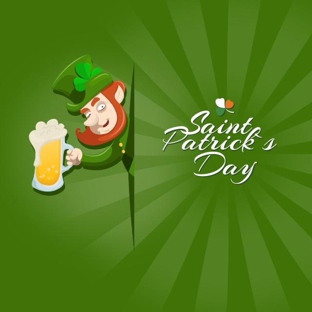Saint Patrick's leprechaun drinker Animated Post Modelo de Design