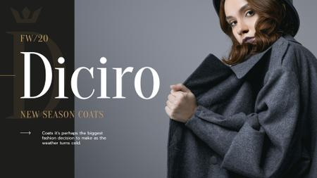 Fashion Collection Ad with Stylish Woman in Winter Clothes Presentation Wide Modelo de Design