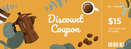 Discount Offer with Cup of Coffee and Grains Coupon Modelo de Design
