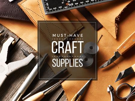 Plantilla de diseño de Craft Supplies Guide Leather Pieces and Tools Presentation