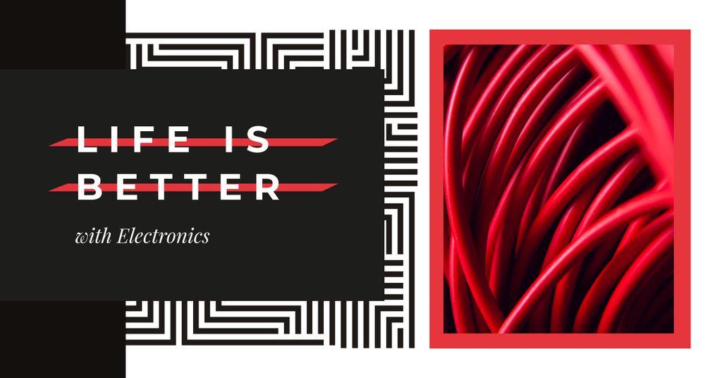 Modèle de visuel Red electronic wires - Facebook AD