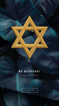 Passover Greeting Star of David Symbol | Vertical Video Template