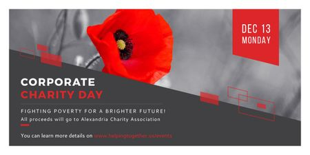 Corporate Charity Day announcement on red Poppy Image Modelo de Design