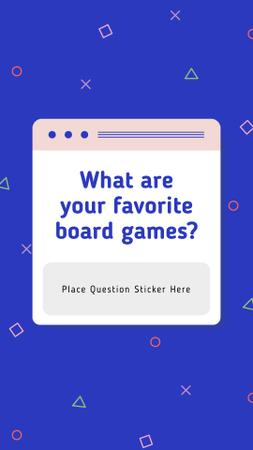 Ontwerpsjabloon van Instagram Story van Favorite Board Games question on blue