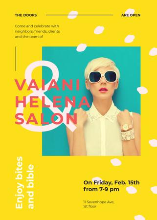 Szablon projektu Salon ad with Young Girl in sunglasses Invitation