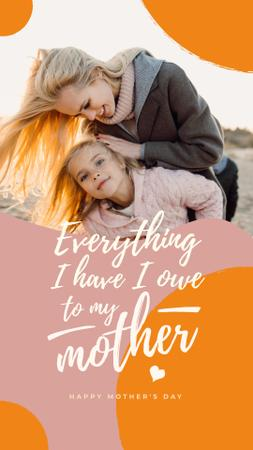 Mother with daughter on Mother's Day Instagram Story Design Template