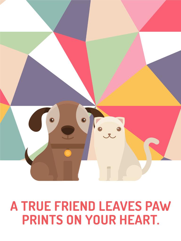 Pets Quote Cute Dog and Cat — Modelo de projeto