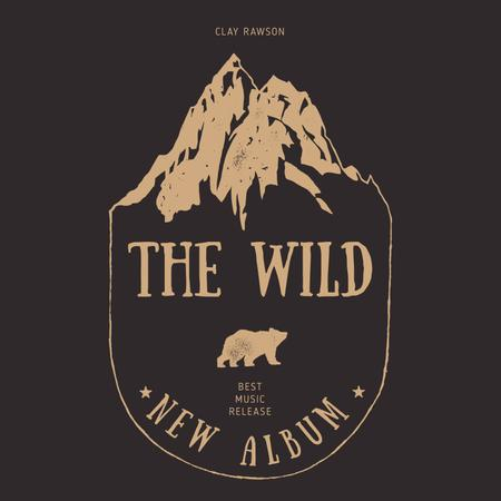 Ontwerpsjabloon van Album Cover van Wild Bear and Mountains illustration