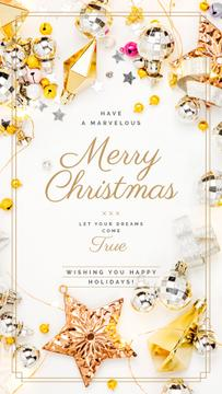 Christmas Greeting Shiny Decorations in Golden | Stories Template