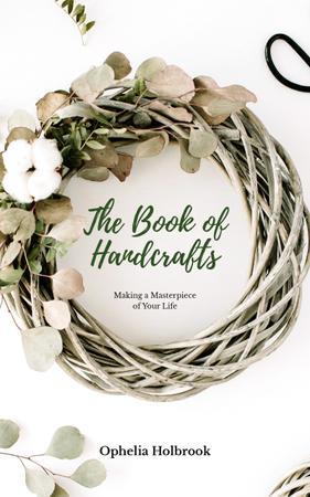 Handcrafted Decorative Wreath with Leaves Book Cover Design Template