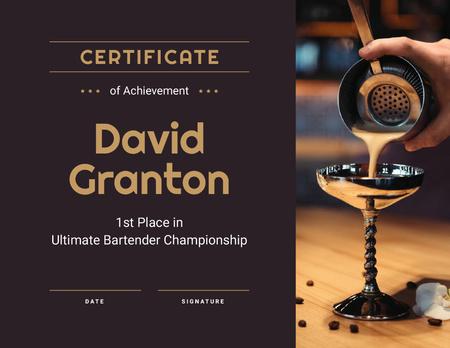 Template di design Bartender Championship winner Achievement Certificate