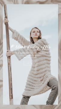 Fashion Ad with Woman in Winter Clothes | Vertical Video Template