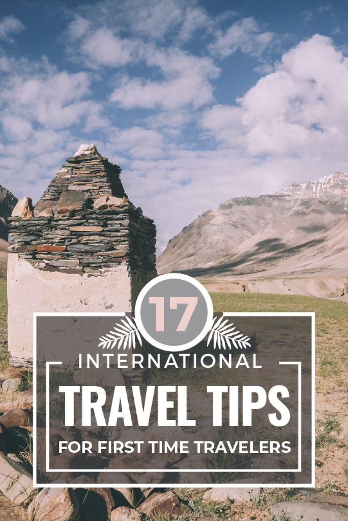 Travel Tips Stones Pillar in Mountains — Maak een ontwerp