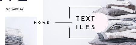 Ontwerpsjabloon van Twitter van Stack of Home Textiles in Grey