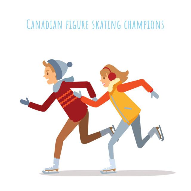 Plantilla de diseño de Woman and man skating on ice Animated Post