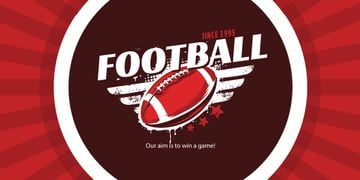 Football Event Announcement with Ball for Twitter Post in Red