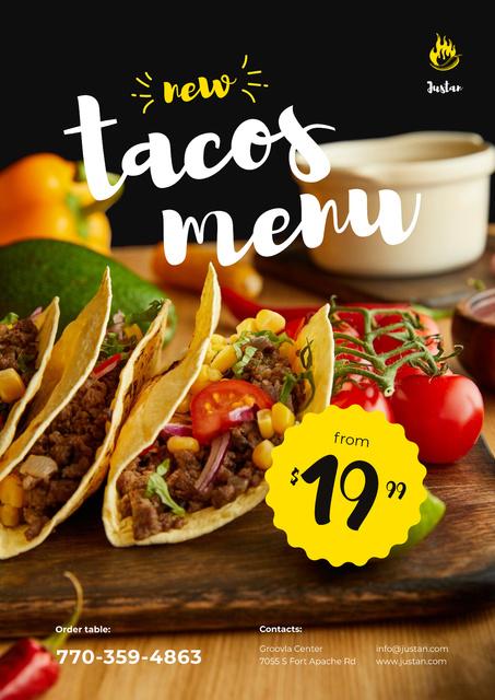 Mexican Menu Offer with Delicious Tacos Poster Modelo de Design