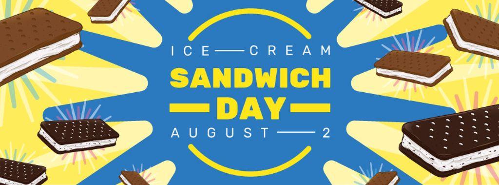 Sweet ice cream sandwich Day on Blue — Créer un visuel