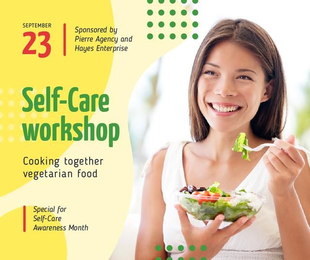 Self-Care Awareness Month Woman Eating Healthy Meal Facebook Design Template