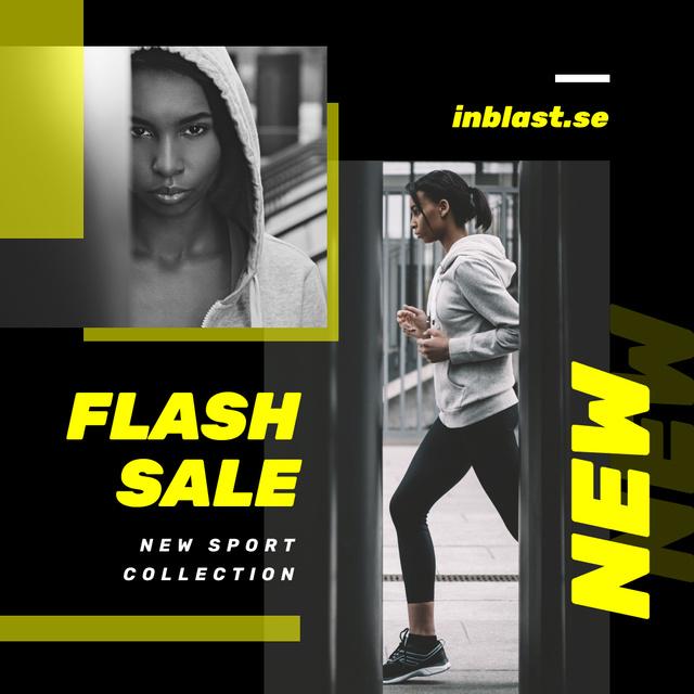 Plantilla de diseño de Sports Equipment Sale Girl Running in City Instagram AD
